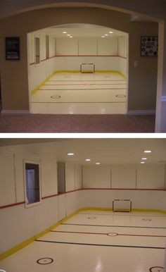 Basement Hockey Rink… or roller skating rink. Can be done just with paint Indoor Playhouse, Build A Playhouse, Roller Skating Rink, Roller Rink, Hockey Bedroom, Hockey Decor, Basement House, Basement Remodeling, Play Houses