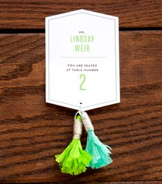 Fringed Tassel Escort Cards | Confetti Pop | Images from Todd Hafermann Photography.