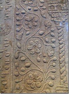 Detail, Tristan trapunto quilt ca 1360-1400. V&A.
