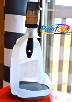 Paint Tips and Tricks: Cut out the side of a milk jug to create yourself the perfect paint holder with a built-in handle and brush-holder!