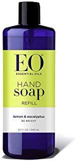 EO Botanical Liquid Hand Soap Refill, Lemon and Eucalyptus, 32 Ounce (Pack of Liquid Hand Soap, Organic Makeup, Cruelty Free, Shampoo, Lemon, Personal Care, Stars, Bottle, Beauty