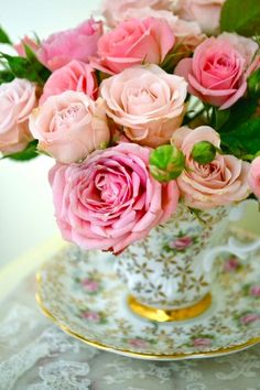 Teacup with roses… | Cherished China ♥)