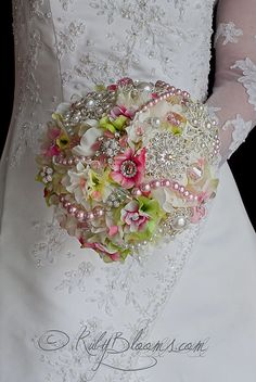 "Wedding broach bouquet 9"" Delightful Pastel flower arrangement Bridal heirloom hand tie and Free Groom's Boutonniere"