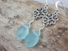 cute blue chalcedony gemstone and silver door sweetstonesjewelry, $9.99