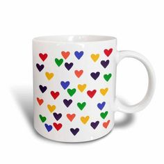 3dRose Hearts in the colors of the Rainbow, Ceramic Mug, 15-ounce
