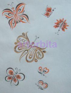 Рисунок. Бабочки. Верховое письмо - хохломская роспись
