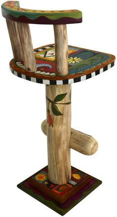 """Sticks creates this artistic one-of-a-kind swivel stool, constructed of hard wood. Hand drawn whimsical designs are burnt in, and then painted. * Chair Size: 18""""W. x 18""""D. x 30""""H. * Signed, Dated Stic"""