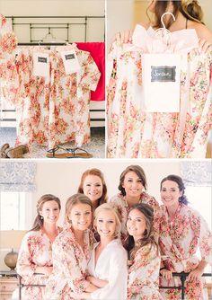 White Floral Posy Bridesmaids Robe Sets | Kimono Robes Spa Wrap Perfect bridesmaids gift, getting ready robe, Bridal shower party favors