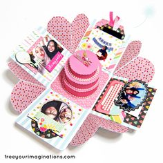 This is the Inside View of BIRTHDAY GIFT for best-friend with Pink Lover Design Theme Featuring Round Birthday Cake in the middle