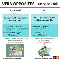 Verb Opposites: succeed / fail #learnenglish