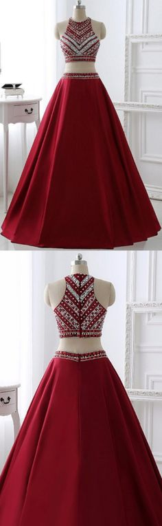 Round Prom Dresses, Burgundy Prom Dresses, Burgundy Round Prom Dresses, Round Prom Dresses, Two Pieces Burgundy Long A-line Satin Beaded Pretty Prom Dresses, Long Prom Dresses, Pretty Prom Dresses, Prom Dresses Long, Beaded Prom Dresses, Prom Long Dresses
