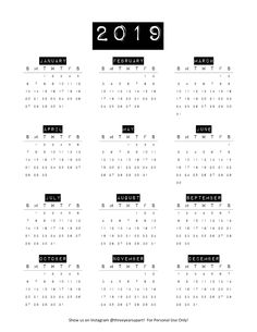 Free DIY Printable Bullet Journal and Planner Calendar SUNDAY and MONDAY START available 2020 Calendars! Vintage label style calendar with both black… Bullet Journal Calendar Printable, Bullet Journal Stickers, Bullet Journal Page, Journal Template, Print Calendar, Free Calendar, Calendar 2019 Yearly, Calendar 2019 Design, Printable Yearly Calendar