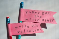 simple paper banner pencil valentines ::: kid crafts ::: DIY