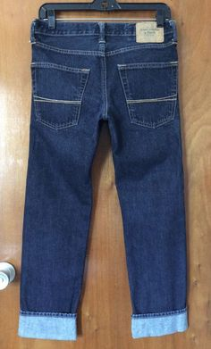 ABERCROMBIE & FITCH Cropped Dark Blue Jeans 28 Cotton Denim Summer Pants Casual #AbercrombieFitch #AnkleCroppedCapri #Casual