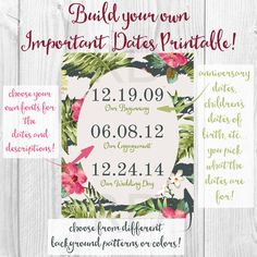 Build Your Own Important Dates Printable - you choose the background pattern or color and all of the fonts! Awesome to give as a wedding or birthday gift