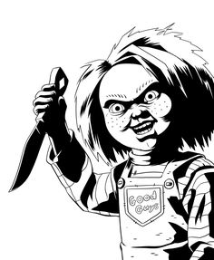Chucky, Halloween House, Halloween Art, La Santa Muerte Tattoo, Horror Artwork, Canvas Art, Canvas Prints, Wood Burning Art, Halloween Drawings
