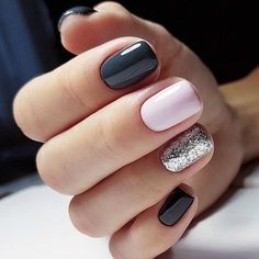 21 Outstanding classy nails ideas for your gorgeous look - Nageldesign - Nail Art - Nagellack - Nail Polish - Nailart - Nails - Accent Nail Designs, Classy Nail Designs, Pedicure Designs, Navy Blue Nail Designs, Pretty Nail Designs, Gel Nail Designs, Acrylic Nails Designs Short, Nail Designs With Glitter, Colorful Nail Designs