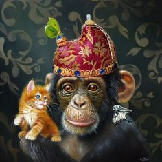 12 beaux tableaux de wim bals - Page 2 Animal Paintings, Animal Drawings, Caricatures, Wilson Art, Monkey Art, Creation Photo, Realistic Paintings, Pet Costumes, Animal Heads