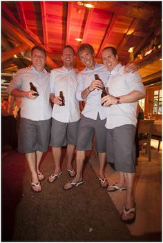 Love the adapted groomsmen outfits for when it is a bit warm!.... with a shirt to match the girls dresses