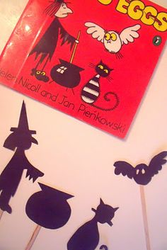 Meg & Mog shadow puppets, great idea for a picture book reading or even general children's fiction.