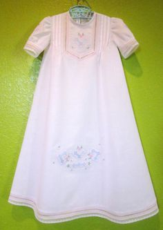 Heirloom baby daygown with embroidery and fagotting