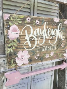 Rustic nursery name sign birth stat sign hospital door hanger