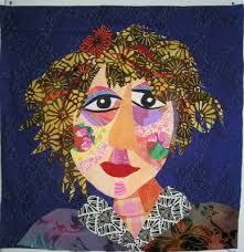dit portret is gemaakt door allemaal verstillende lapjes stof op elkaar vast te naaien