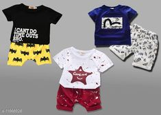 Checkout this latest Clothing Set Product Name: *Agile Funky Boys Top & Bottom Sets* Top Fabric: Cotton Bottom Fabric: Cotton Sleeve Length: Short Sleeves Top Pattern: Printed Bottom Pattern: Printed Multipack: Pack Of 3 Add-Ons: No Add Ons Sizes: 0-3 Months, 0-6 Months, 3-6 Months, 6-12 Months (Top Chest Size: 10.5 in, Top Length Size: 13.5 in, Bottom Waist Size: 10.5 in, Bottom Length Size: 10 in)  1-2 Years (Top Chest Size: 11 in, Top Length Size: 14.5 in, Bottom Waist Size: 11 in, Bottom Length Size: 10 in)  2-3 Years (Top Chest Size: 11.5 in, Top Length Size: 15.5 in, Bottom Waist Size: 11.5 in, Bottom Length Size: 10 in)  3-4 Years (Top Chest Size: 12 in, Top Length Size: 16.5 in, Bottom Waist Size: 12 in, Bottom Length Size: 10.5 in)  4-5 Years (Top Chest Size: 13 in, Top Length Size: 17.5 in, Bottom Waist Size: 13 in, Bottom Length Size: 11 in)  Country of Origin: India Easy Returns Available In Case Of Any Issue   Catalog Rating: ★4 (9272)  Catalog Name: Modern Funky Boys Top & Bottom Sets CatalogID_2277119 C59-SC1182 Code: 895-11966926-9441