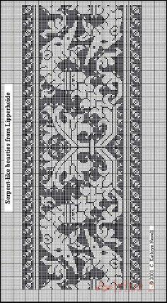 Figure 1 - Serpent-like Beasties from Lipperheide (Kathryn Goodwyn's Assisi Embroidery) Filet Crochet, Crochet Borders, Crochet Diagram, Crochet Stitches Patterns, Thread Crochet, Embroidery Patterns, Cross Stitch Borders, Cross Stitch Charts, Cross Stitching