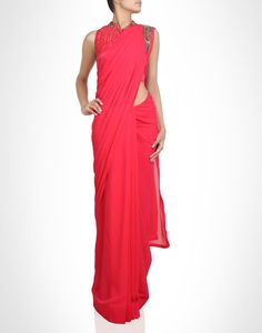 Ready drape sari with bead work. Shop Now: www.kimaya.in.