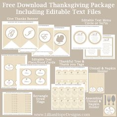 Free-Thanksgiving-Printable Thanksgiving Printables that include Editable Text Files.  Comes with a banner, editable menu, place cards, food cards, thank you tags, and more!