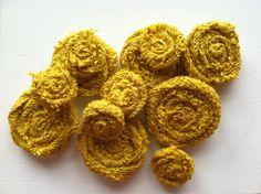 Limited Edition Mustard, Dozen Burlap Flowers, Six small and Six medium on Etsy, $17.00
