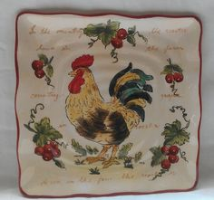"rooster kitchen decor | COUNTRY KITCHEN ROOSTER 9"" PLATE DISH DECORATION DECOR NEW"