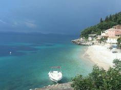 Kaminaki Beach Corfu Greece Corfu Greece, Santorini Greece, Athens Greece, Hillside Village, Corfu Town, Corfu Island, Greek Isles, Cypress Trees, Greece Islands