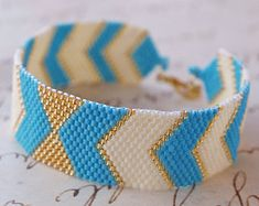 Peyote Bracelet, Peyote Chevron Geometric, Handwoven Jewelry, Modern, Urban Style - Arrows Bow | PeyoteArt Jewelry