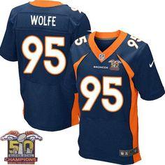 Men's Nike Denver Broncos #95 Derek Wolfe Elite Navy Blue Alternate Super Bowl 50