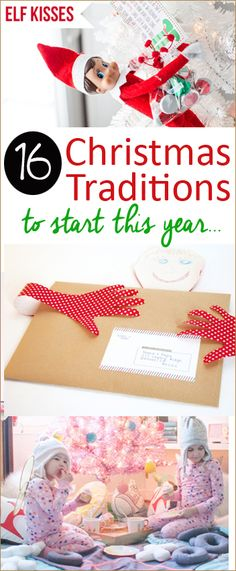 16 Christmas Traditions to Start this Year. Family rituals and traditions to do with your family around the holidays. Make memories with solid traditions that will last a life time. Christmas gifting, Christmas Eve and Christmas day rituals. Family activities for the holidays.