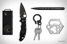 Spyderco Manix 2 Knife ($156). Tuff Writer Tactical Pen ($100). Verany Hexagon Multifunction Tool ($8). Autographer Wearable Camera ($350). Grovemade Key Ring ($39). Presented by Spyderco....