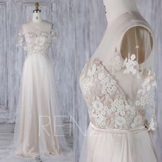 2017 Off White Mesh Bridesmaid Dress with Ruffle Sleeves, Beige Gold Lace Sweetheart Illusion Wedding Dress, A Line Ball Gown Floor (LS278) by RenzRags on Etsy https://www.etsy.com/listing/508173612/2017-off-white-mesh-bridesmaid-dress