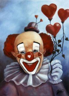 Portrait Painting - Clown Of Hearts by Joni McPherson Gruseliger Clown, Scary Clown Makeup, Cute Clown, Clown Faces, Circus Clown, Creepy Clown, Image Halloween, Hot Halloween Costumes, Halloween Photos