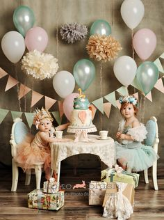 I am So doing this for Keli's first Birthday! this vintage tea party picture is some adorable inspiration if you're looking for a princess party with less pink First Birthday Parties, First Birthdays, Cake Birthday, Birthday Balloons, Happy Birthday, Birthday Crowns, Simple First Birthday, Birthday Garland, Birthday Brunch