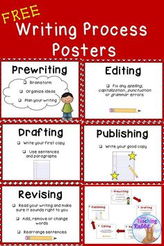 These free writing process posters help to guide students through the steps from prewriting to publishing.