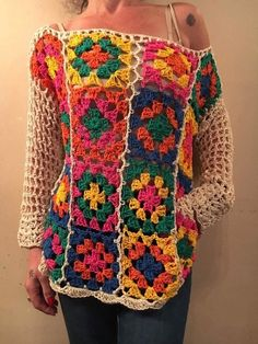 Flores colores Crochet Quilt, Crochet Trim, Love Crochet, Beautiful Crochet, Knit Crochet, Crochet Jacket, Crochet Cardigan, Crochet Designs, Handarbeit