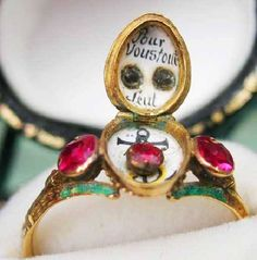 """18th Century French Ring with enamel carnival mask. Inside the locket bezel is the message """"Pour Vous Tout Seule""""...For You All Alone"""