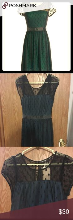 Modcloth Doe & Rae Dress Doe and Rae Modcloth brand. Has quite a bit of stretch. Really pretty mesh polka dot overlay with teal color underneath. B18 W15 L36 Never worn. Modcloth Dresses