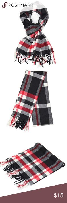 "Black/Red/White Cashmere Feel Winter Scarf Black/Red/White Cashmere Feel Winter Scarf 100% Viscose.  Rectangular Size: APPROX. 12""W x 72""L with fringes, 3"" fringes at both ends. Unisex designs, perfect gift for men or womenPatterned in rich, classic scottish plaid, checked and tartan design DRY CLEAN or HAND WASH, squeeze gently and do NOT twist Accessories Scarves & Wraps"