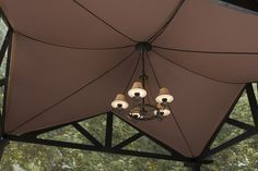 Dress up your outdoor space with a chandelier.