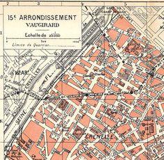 1920s Paris Street Map Vaugirard 15e arrondissemen