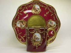 Coalport Red Scenic Cup and Saucer