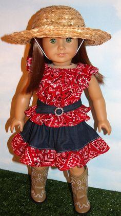 18 Inch Doll like American Girl Red Bandana & by SewLikeBetty